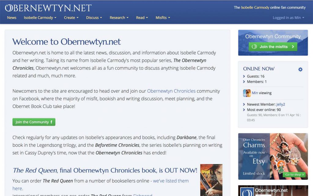 Obernewtyn.net community homepage.