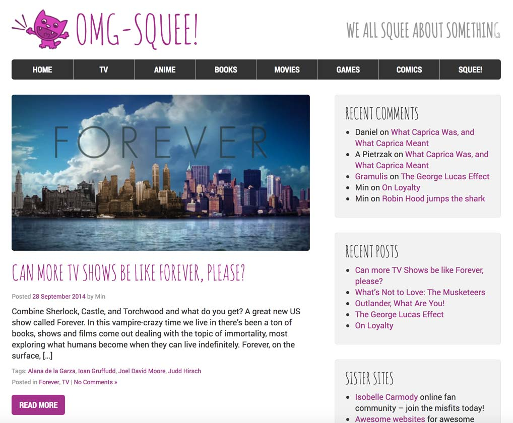 OMG-Squee blog homepage.