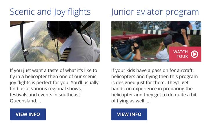 Categorisation of many flight types, ability to add videos to specific tours.