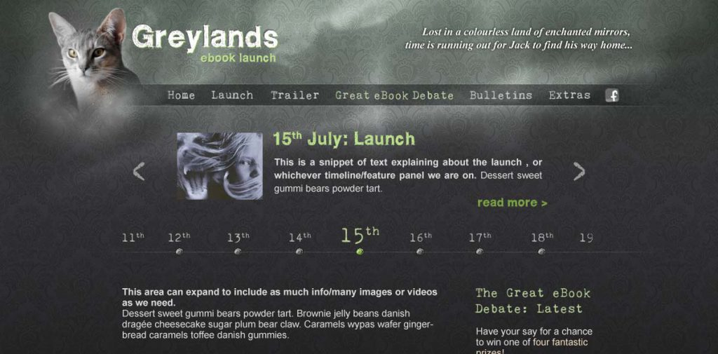 The Greylands homepage, at time of launch - with ticker on the homepage explaining what users could expect each day, and feature links to the most dynamic sections.