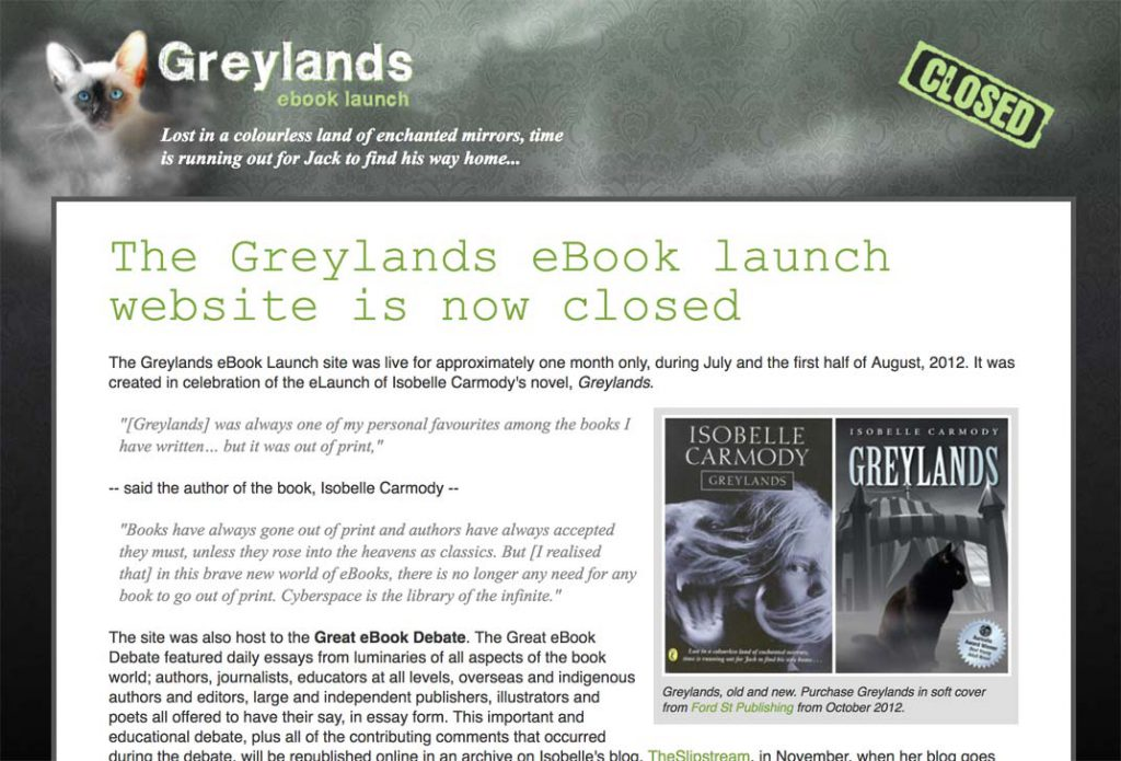 The (now closed) Greylands website.