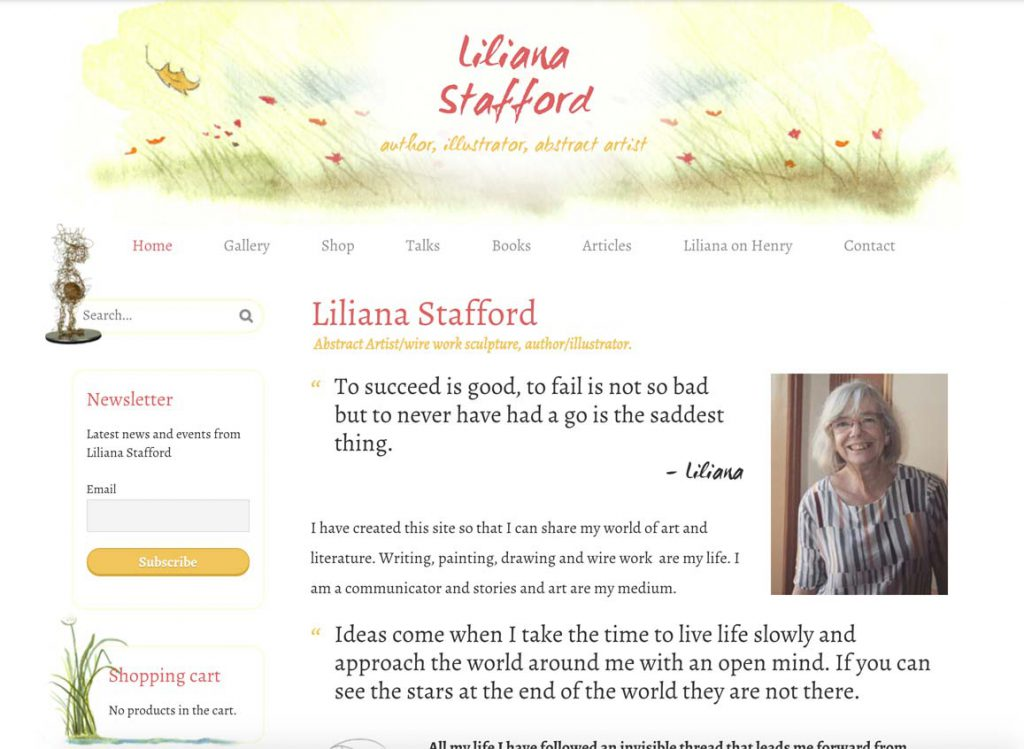 Liliana Stafford homepage - a truly personal, customised author/artist website.