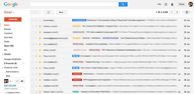 Gmail filtering email inbox