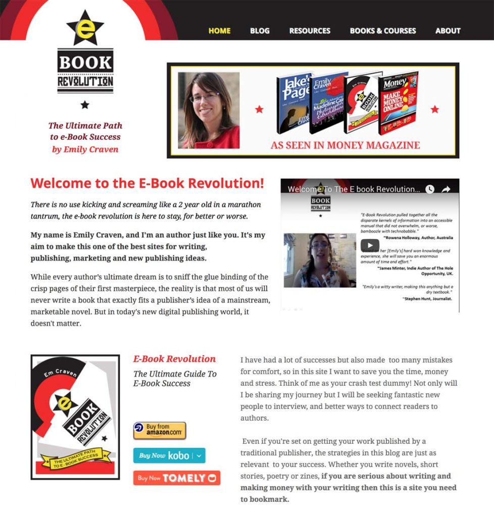 Homepage - including welcome video by Emily and direct links to buy the ebook via any of the services she's selling it through.