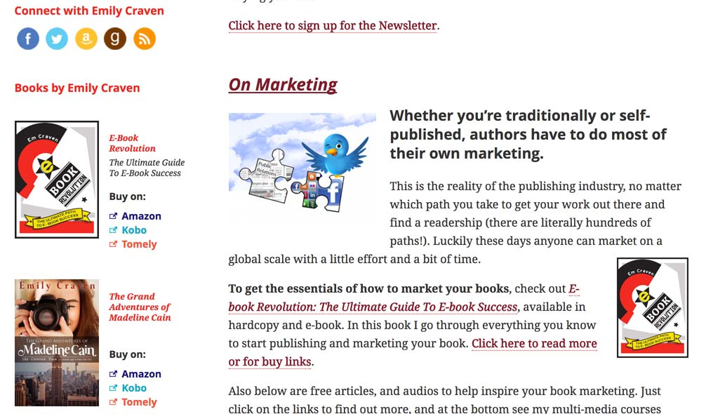 A sample standard page, including any formatted content and images the client wishes. Sidebar with custom links to buy Emily's books are also visible.