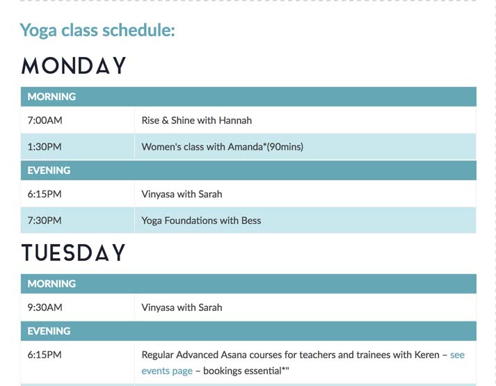 Class schedule easily updated in Wordpress by the client, whenever required.
