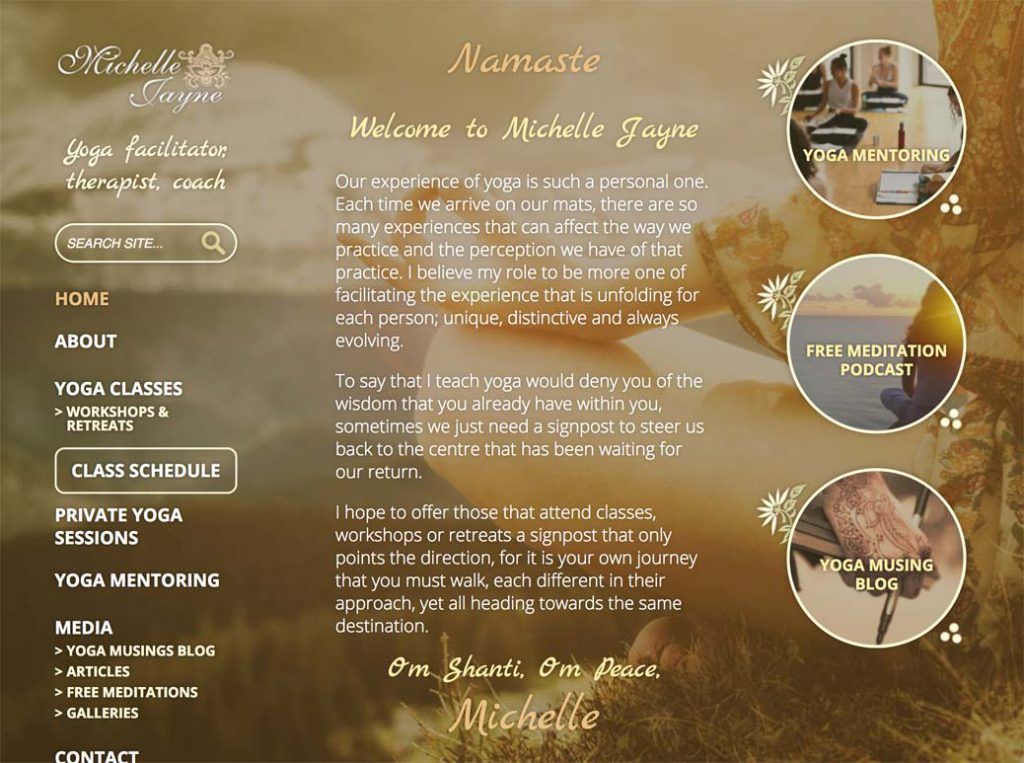 Michelle Jayne Yoga homepage.