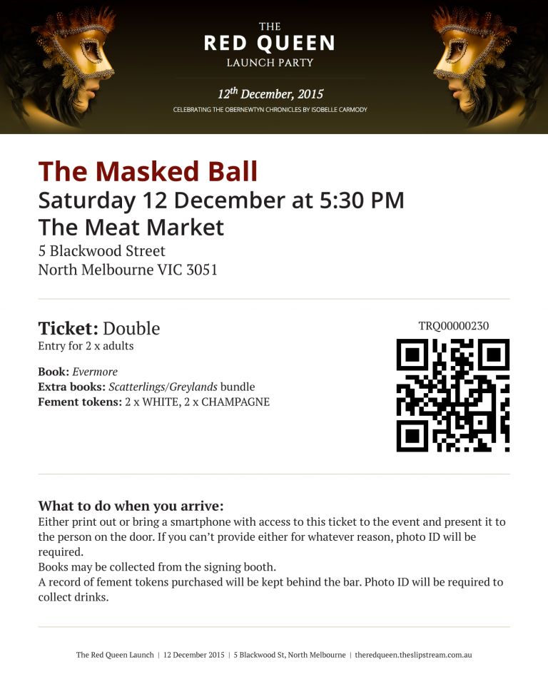 A sample ticket for the Red Queen Masked Ball.