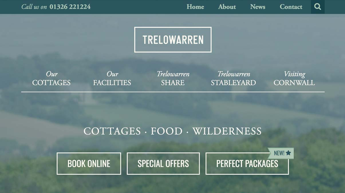 The Trelowarren website; perhaps my most highly customised WordPress website yet.