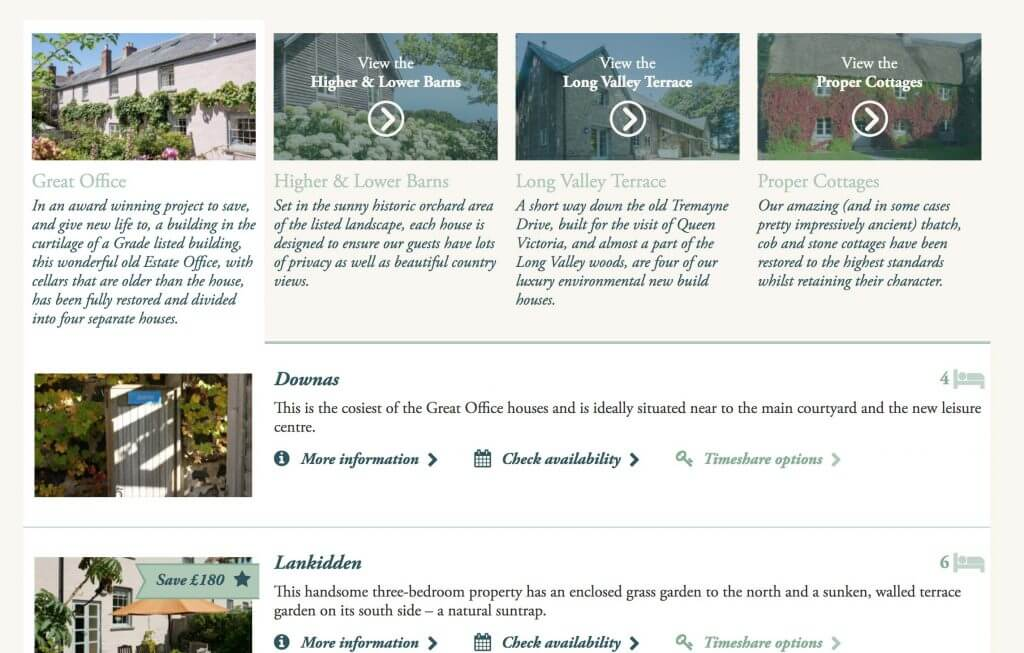 Cottages all listed on one page, without being overwhelming. Provides summary of each cottage, listing the at-a-glance important info about each.