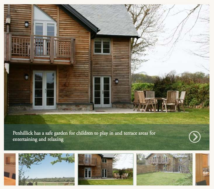 Each individual cottage page has an image gallery associated.