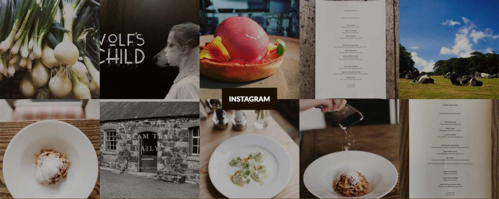 Latest Instagram posts automatically fed into the footer.
