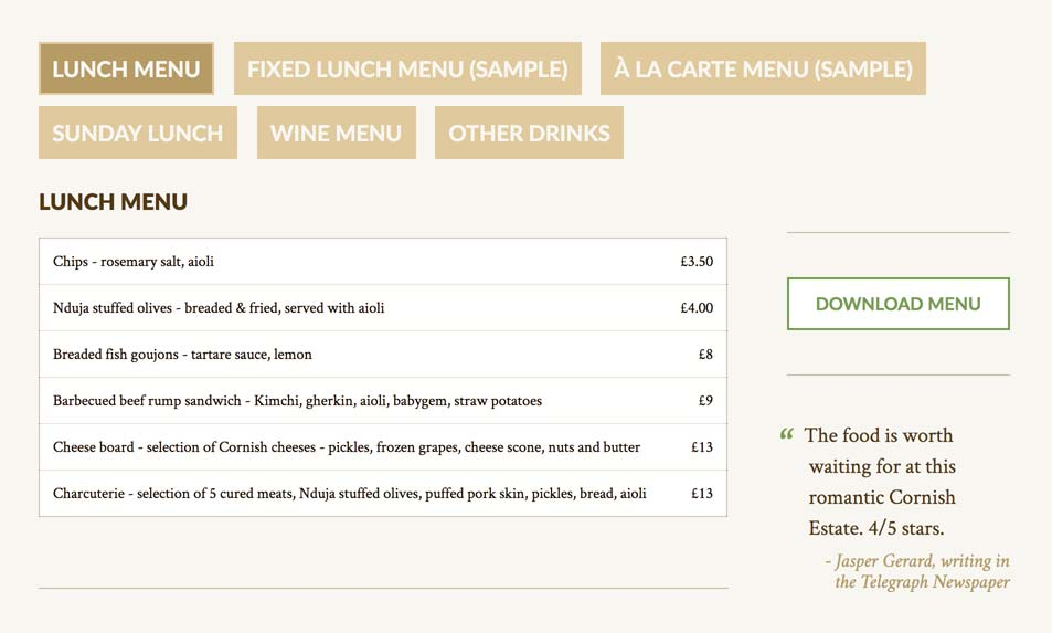 Restaurant menus. Client can create as many menus as they like.