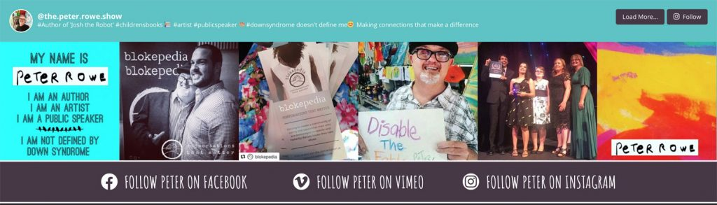 Instagram is one of the main ways Peter communicates with his fans; a live Instagram feed appears at the bottom of every page.