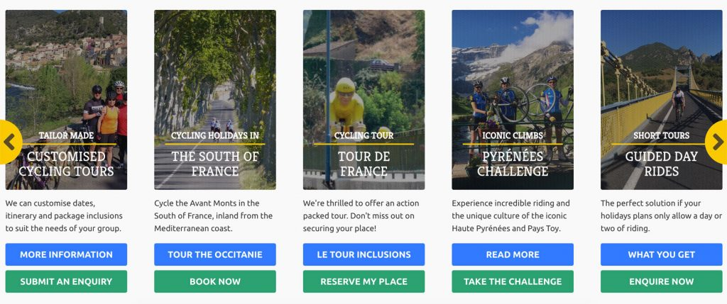 Content carousel on the homepage makes it easy to browse through available tours and guided rides