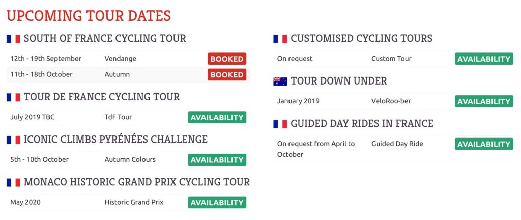 Customised upcoming dates section, complete with visual indicators that make it easy for the client to immediately see which tours still have places available