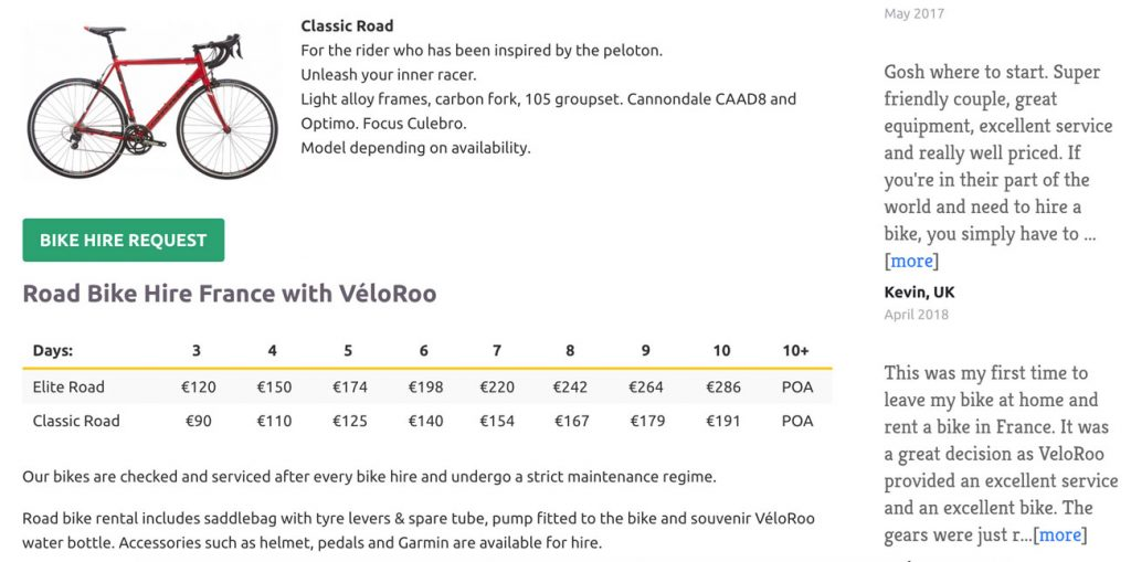 Bike hire is an important part of their business; while it's a standard content page, the Wordpress content editor styles have been adapted to allow for the content to be displayed in an on-brand way