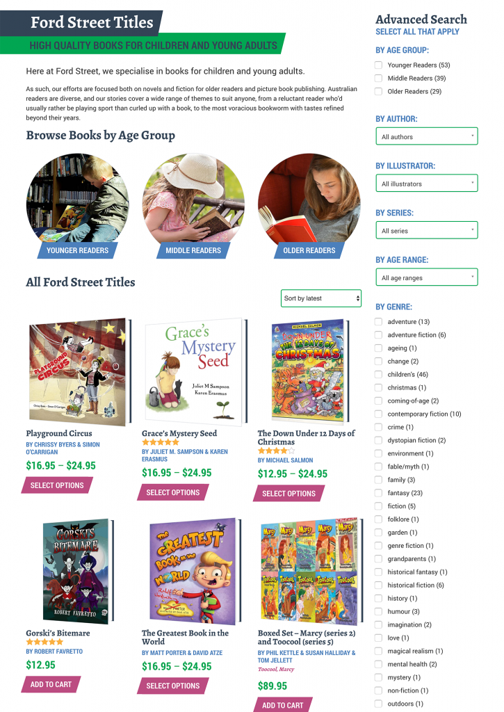The book shop, using Woocommerce, has an advanced search and filter option to help users find exactly what they're after.