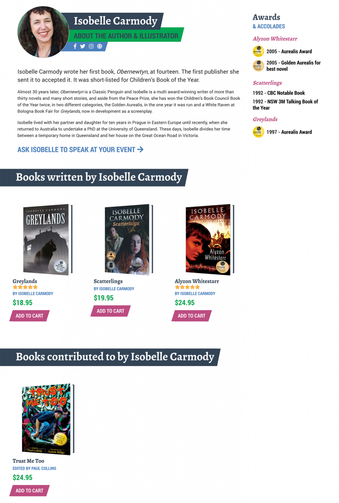 Each creative's page has their bio and accolades, and automatically lists any book they have contributed to.