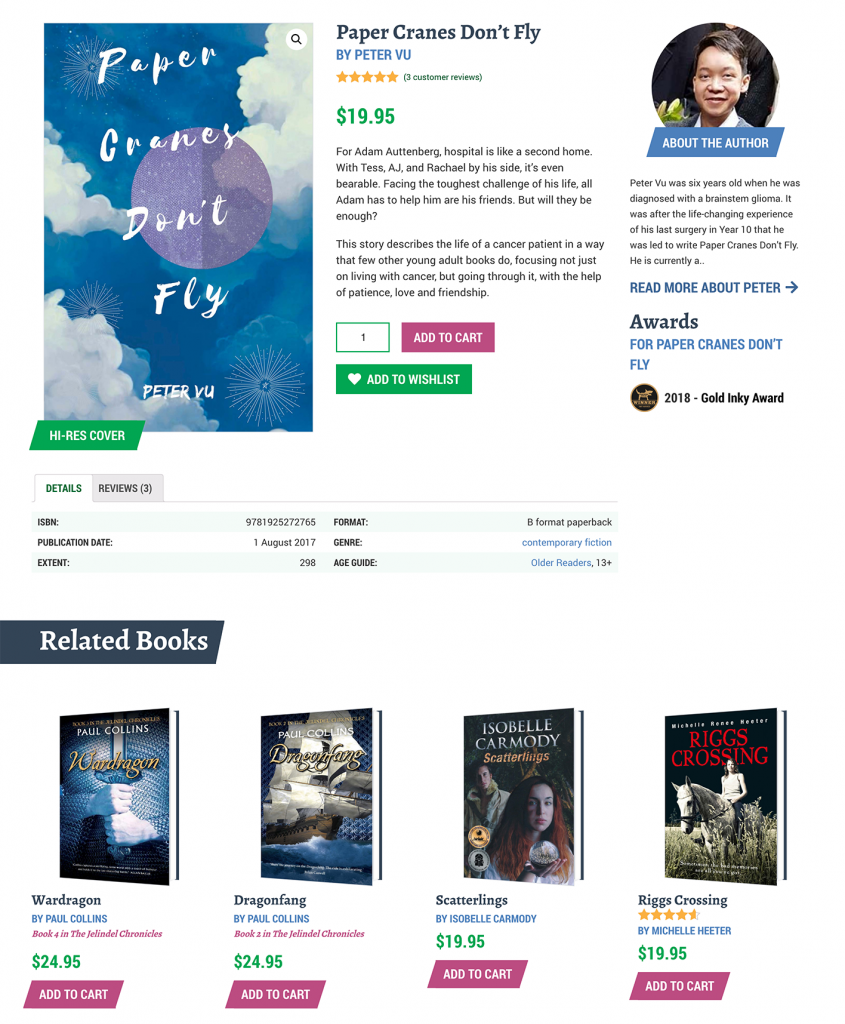 Each FSP book page contains a wealth of information about the title.