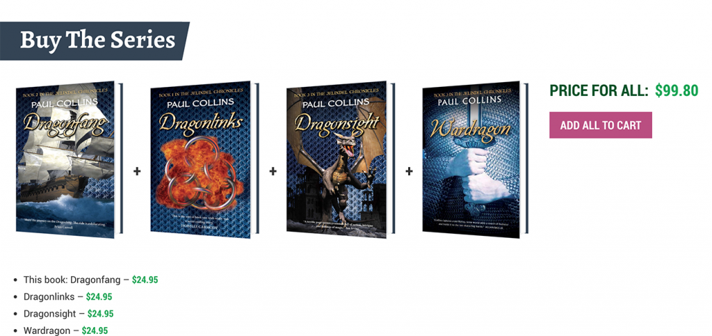 Books that are part of a series are added to each individual book page with the option to purchase all at once.