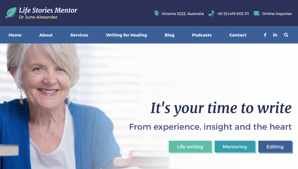 Life Stories Mentor homepage; professional colours while still being interesting, encouraging users to click through to the services she offers.