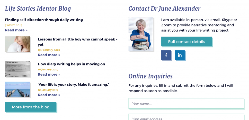 Site-wide footer includes latest blog articles and means to contact June.