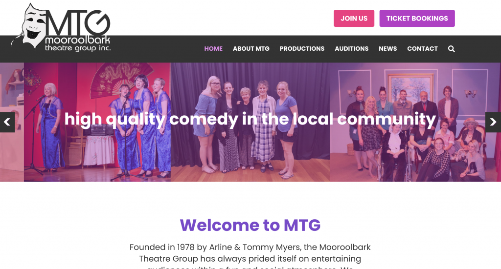 The MTG homepage is smart and simple, using bright colours and clean lines to reflect the theatre group's personality.