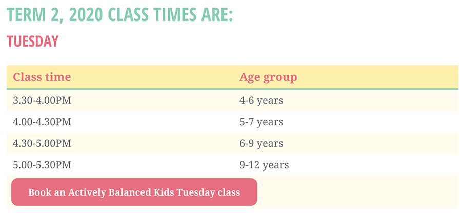 Simple, readable timetable for parents who need the information quickly.