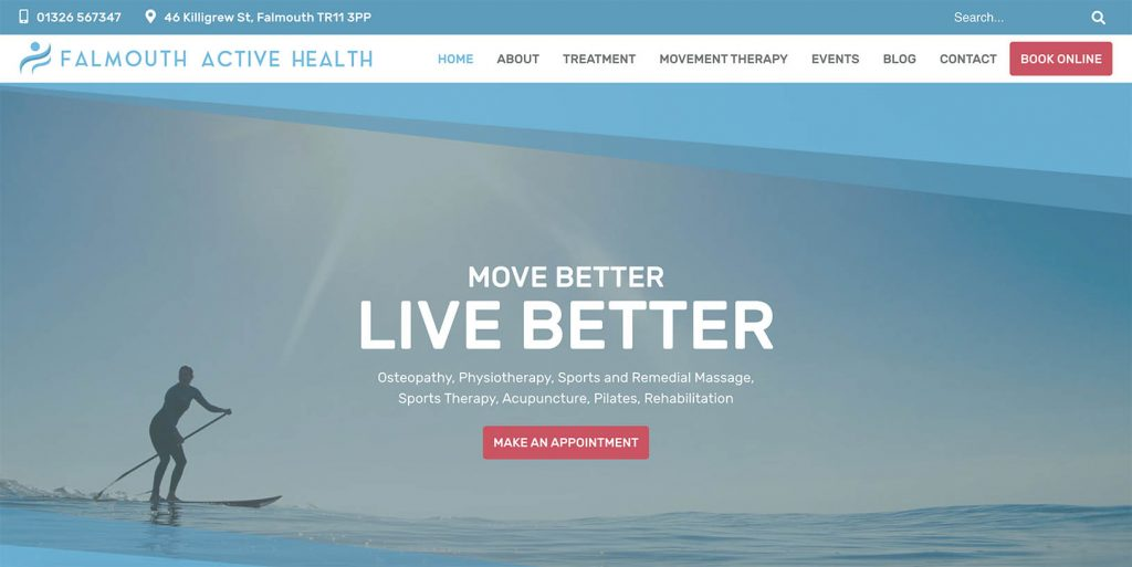 Falmouth Active Health homepage; clean and simple and striking.