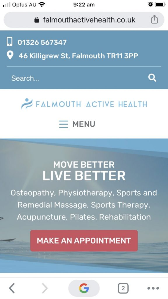 Falmouth Active Health website looks beautiful on all handheld and desktop devices.
